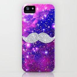 Galaxy Nebula Glitter Mustache Pink Space iPhone Case
