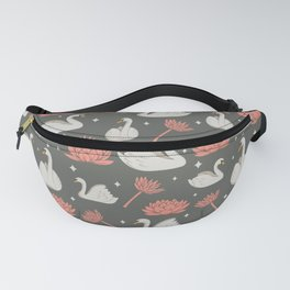 White swan and pink flowers pattern Fanny Pack