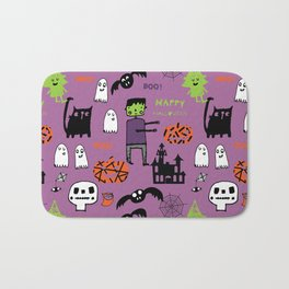 Cute Frankenstein and friends purple #halloween Bath Mat