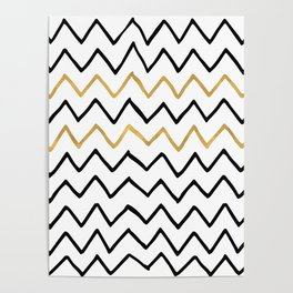 Writing Exercise- Simple Zig Zag Pattern - Black on White Gold - Mix & Match Poster
