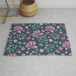 They Only Come Out At Night - Beautiful Abstract Flowers Rug