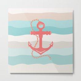 AFE Coral Anchor Nautical Art Metal Print