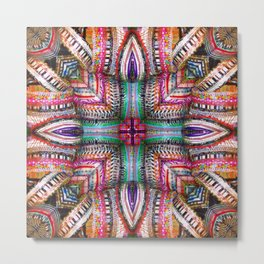 number 335  green red pink silver purple multicolored Metal Print
