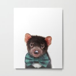 Baby Tasmanian Devil With Bow Tie, Baby Animals Art Print By Synplus Metal Print