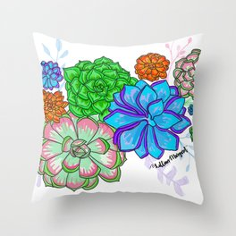 Saturated Succulents Throw Pillow