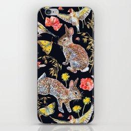 Bunny Meadow Pattern - Dark iPhone Skin