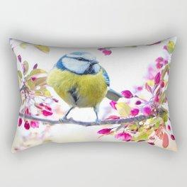 Romantic Flower Blossom with blue tit spring bird Rectangular Pillow