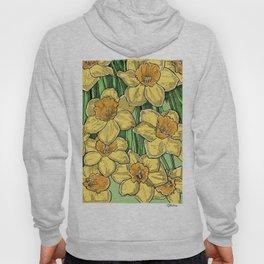 Yellow Daffodils line drawing Hoody