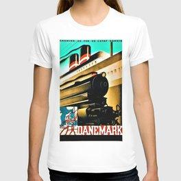 Vintage Denmark, Chemin de Fer L'Etat Danois Locomotive Train Travel Poster T-shirt