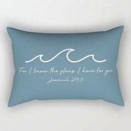 Jeremiah 29:11 Waves, White Rectangular Pillow
