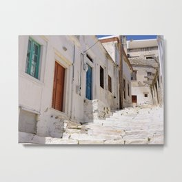 Colorful Street in Naxos Greece Metal Print