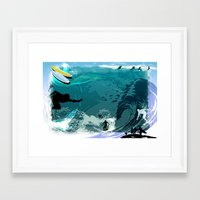 surfing Framed Art Prints featuring Surfing by Robin Curtiss