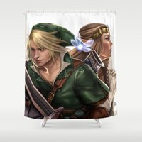 the legend of zelda Shower Curtains featuring Legend of Zelda by KlsteeleArt