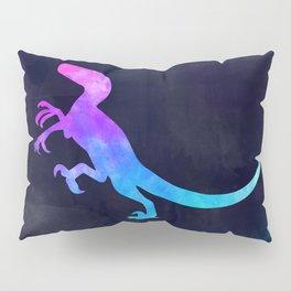 VELOCIRAPTOR IN SPACE // Dinosaur Graphic Art // Watercolor Canvas Painting // Modern Minimal Cute Pillow Sham