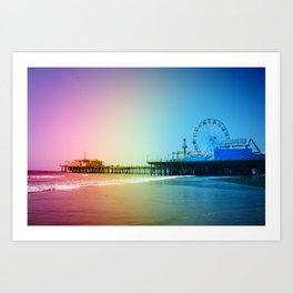 Santa Monica Pier Rainbow Colors Art Print