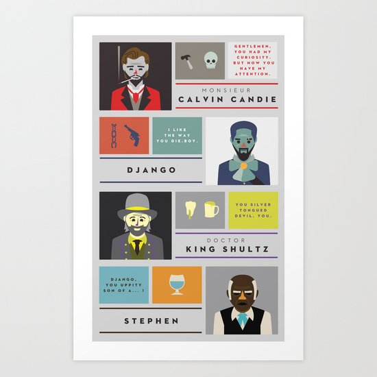 Django Unchained Character Poster Art Print