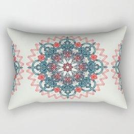 Coral & Teal Tangle Medallion Rectangular Pillow