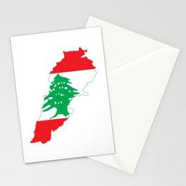 Lebanon Flag Map  Stationery Cards