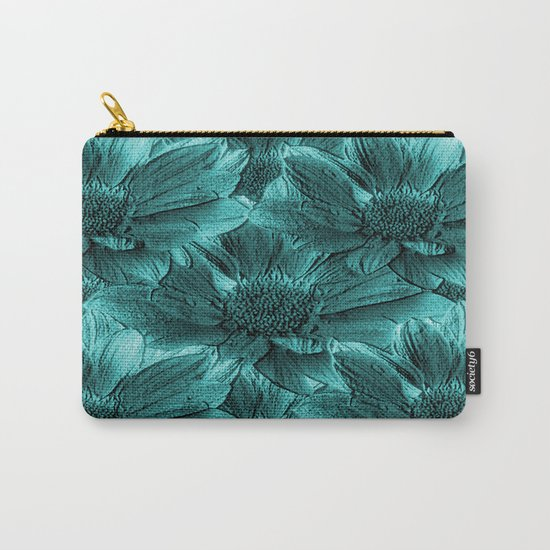 Turquoise Floral Abstract Carry-All Pouch