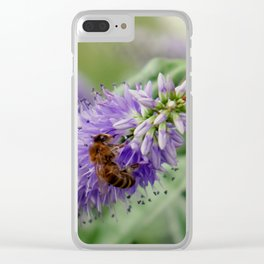 Bee Gathering Pollen on a Flower Clear iPhone Case