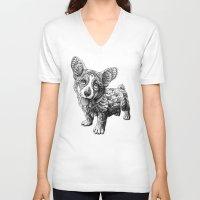 corgi V-neck T-shirts featuring Corgi Puppy by BIOWORKZ