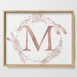 Letter M Rose Gold Pink Initial Monogram Serving Tray