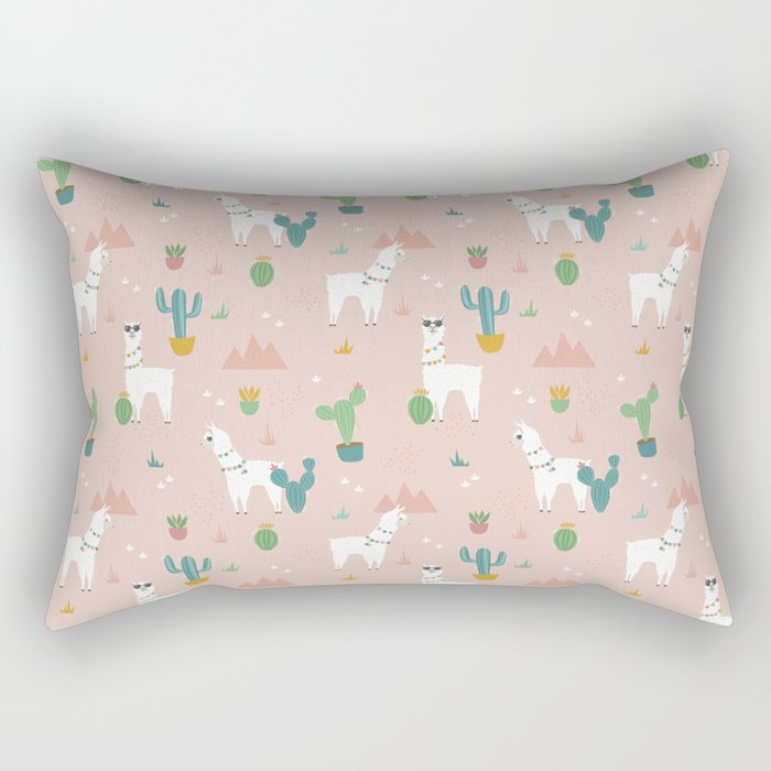 Summer Llamas on Pink Rectangular Pillow