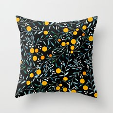 Oranges Black Throw Pillow