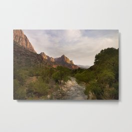 Virgin River and The Watchman at sunset. Metal Print