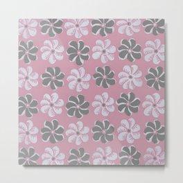 Floral design pink, Black & blue Gray  Flowers Allover Print Metal Print