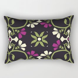 Decorative Floral Pattern 30 - Baltic Sea, Sycamore Green, Disco Purple, Citrine White Rectangular Pillow