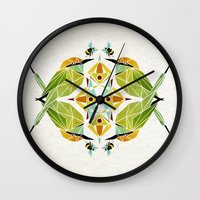 soul eater Wall Clocks featuring green bee eater  by Manoou