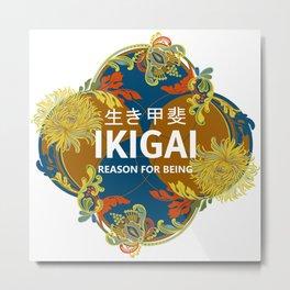 Chrysanthemum-Ikigai-navy-palette Metal Print