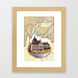 Budapest Globe Map Framed Art Print