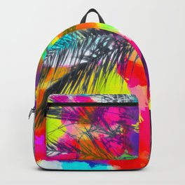 palm tree with splash painting abstract background in red pink yellow blue Backpack