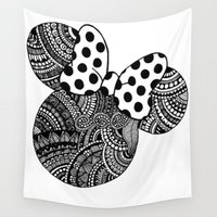 minnie Wall Tapestries featuring Zentangle Minnie Mouse by taytangle