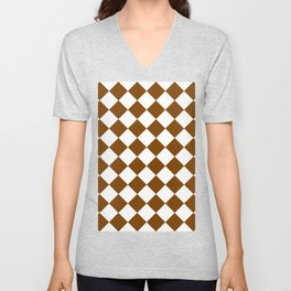Large Diamonds - White and Chocolate Brown Unisex V-Neck