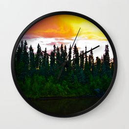 Summer Sun Almost Sets in Alaska Wall Clock