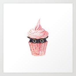 Pink cupcake -black cat Art Print