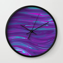 Pink, Purple, and Blue Waves 2 (rotated) Wall Clock