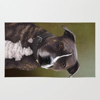 bull terrier Area & Throw Rugs featuring Staffordshire Bull Terrier by Carl Conway