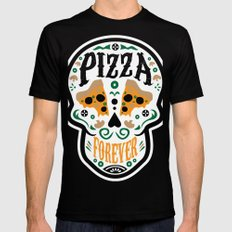 Pizza Forever Black Mens Fitted Tee MEDIUM