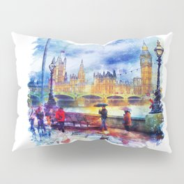 London Rain watercolor Pillow Sham