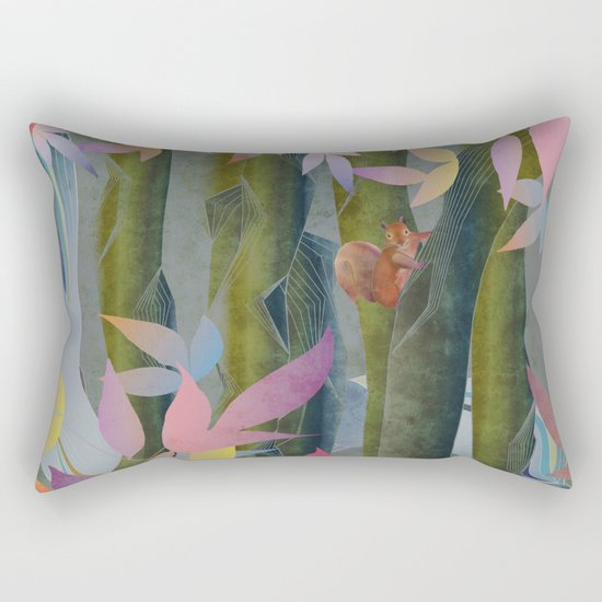 Autumn by a Waterfall Rectangular Pillow