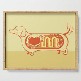 I heart sausage dogs Serving Tray