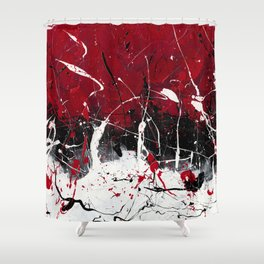 Groove In The Fire - Black and red abstract splash painting by Rasko Shower Curtain