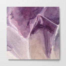 Amethyst Crystal Watercolor Metal Print