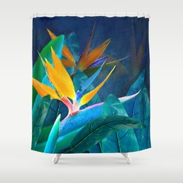 Bird of Paradise Under a Hawaiian Moon Shower Curtain
