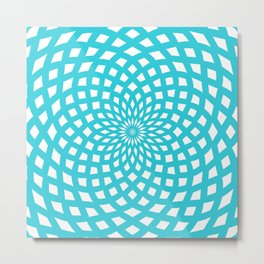 Classic Rosette Pattern in Stong Cyan and White Metal Print
