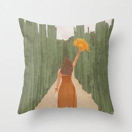 A Way Through the Cactus Field Throw Pillow